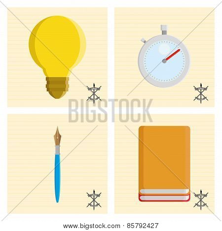 Collection of four school supplies on paper backgrounds