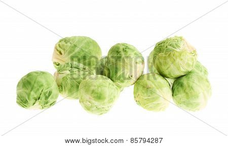 Pile of brussels sprouts isolated