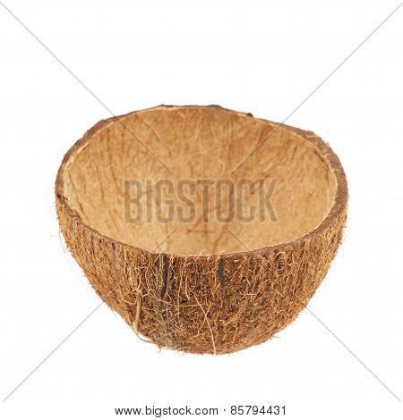 Coconut fruit shell cut in half