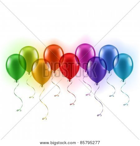 Colorful balloons in a row - eps10
