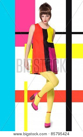 Model In Bright Retro Colors