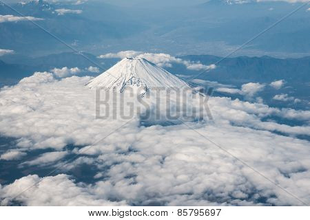 Aerial view of Mt. Fuji in Japan