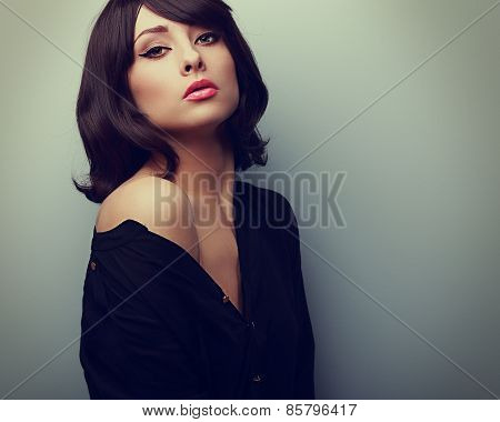 Beautiful Style Woman In Shirt With Black Short Hair. Vintage Portrait