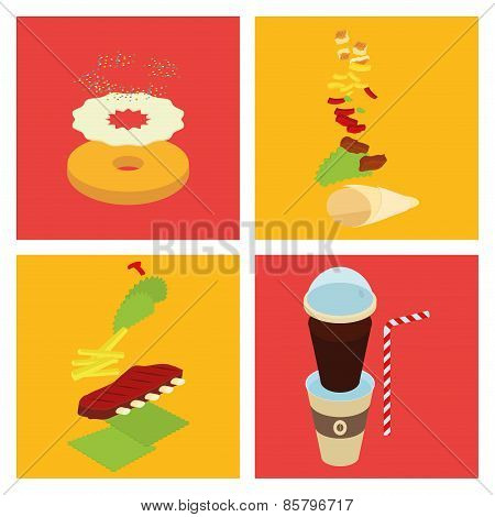 A fast foods on colored backgrounds