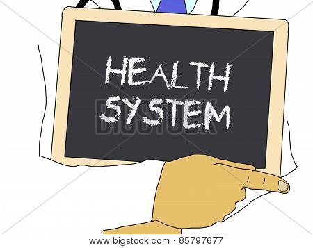 Illustration: Doctor Shows Information: Health System