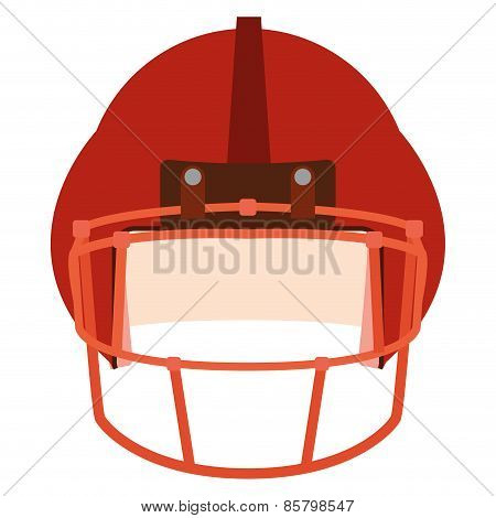 an isolated red football helm on a white background