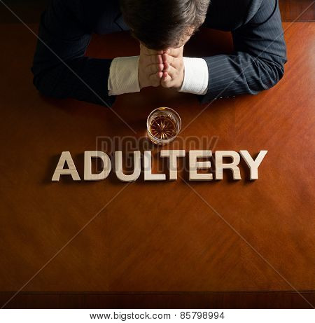 Word Adultery and devastated man composition