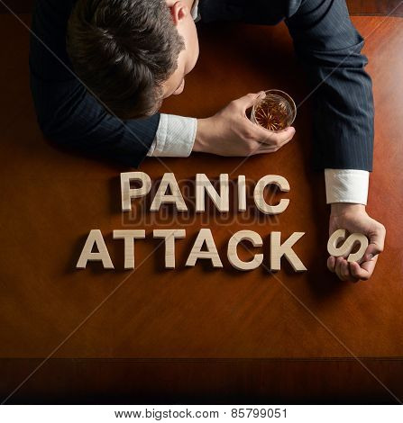 Phrase Panic Attacks and devastated man composition