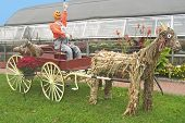 stock photo of hayride  - Pumpkin head drives a wagon pulled by a straw horse - JPG