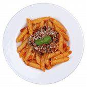 foto of noodles  - Penne Bolognese or Bolognaise sauce noodles pasta meal isolated on a plate from above - JPG