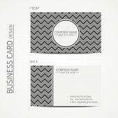 picture of chevron  - Vintage hipster simple monochrome business card template for your design - JPG