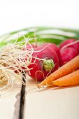 foto of root vegetables  - raw root vegetable on a rustic white wood table - JPG
