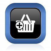 stock photo of cart  - cart square glossy icon shopping cart symbol  - JPG