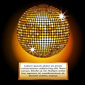picture of plaque  - Golden Disco Ball on a Plaque with Sample Text - JPG