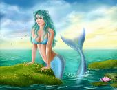 stock photo of mermaid  - illustration Fantasy  beautiful young mermaid in the sea - JPG