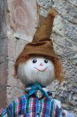 image of scarecrow  - Closeup view of a funny and smiling scarecrow  - JPG