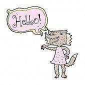 image of werewolf  - cartoon werewolf woman saying hello - JPG