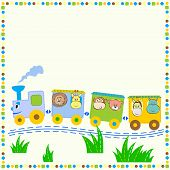 pic of baby animal  - Cheerful train with animals - JPG