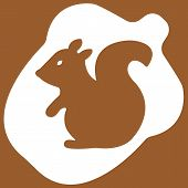 image of acorn  - Vector illustration of acorn with squirrel on brown background - JPG