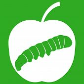 pic of green caterpillar  - Vector illustration of apple with caterpillar on green background - JPG