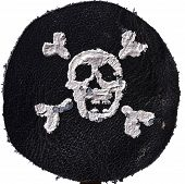 picture of skull crossbones  - Pirate Black mark made of leather with skull and crossbones on white background - JPG