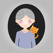 image of grey-haired  - Happy old lady with her kitten - JPG