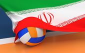 foto of volleyball  - Flag of Iran with championship volleyball ball on volleyball court - JPG