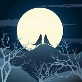 stock photo of wolf moon  - The howling wolves on a hill against full moon - JPG
