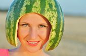 image of melon  - closeup portrait of beautiful sexy young woman model with water - JPG