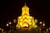 image of trinity  - Holy Trinity Cathedral of Tbilisi Sameba by night - JPG