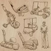 stock photo of classic art  - GOLF Golfers Golf and Golf Equipment - JPG