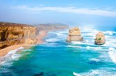 foto of 12 apostles  - The Twelve Apostles a famous collection of limestone stacks off the shore of the Port Campbell National Park by the Great Ocean Road in Victoria Australia - JPG