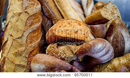 French Bread Baguettes In Wooden Box.