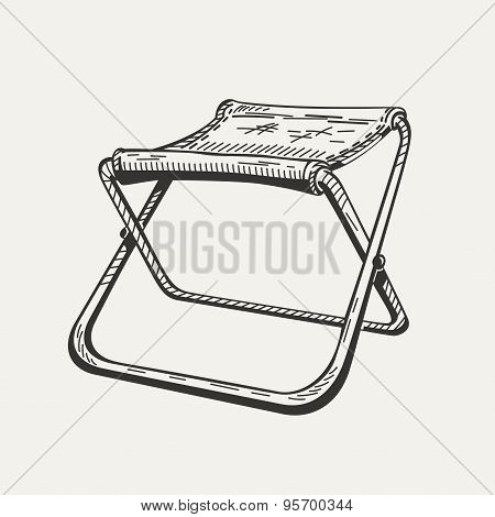 Illustration of isolated folding camp chair on white background.