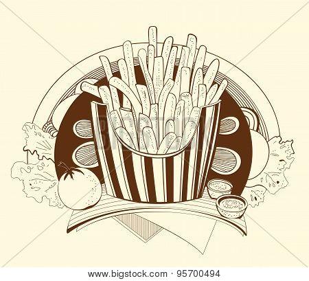 Illustration french fries.