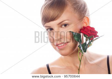 Girl With Nude Makeup Holds A Rose.