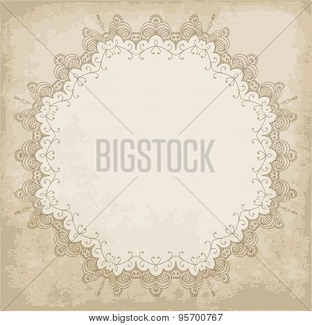 Old Paper Background With Lace Frame