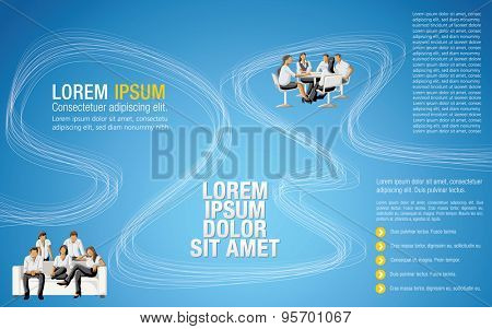 Blue colorful template for advertising brochure with business people
