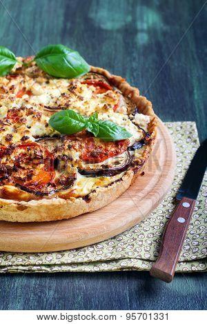 Aubergine, Tomato And Cheese Quiche