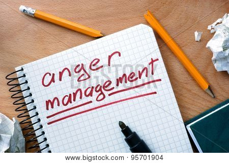 Note with words anger management.