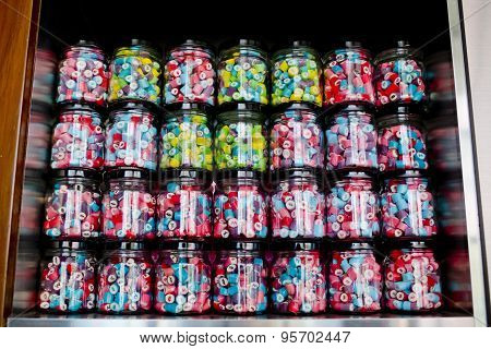 Colorful Of Candy In A Glass Candy Jar Background