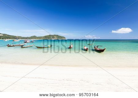 Long-tailed Boat At The Beach And Blue Sky At Koh Phangan,surat Thani, Thailand Thailand