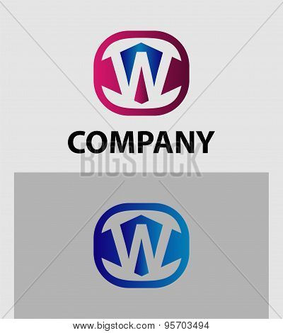 Letter W logo icon design template elements. Vector color sign