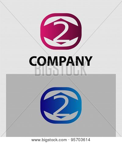 Number 2 logo. Vector logotype design.