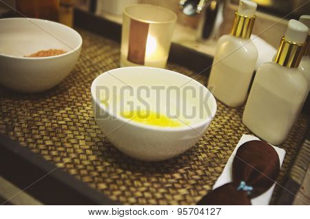 Spa Still Life With Burning Candle
