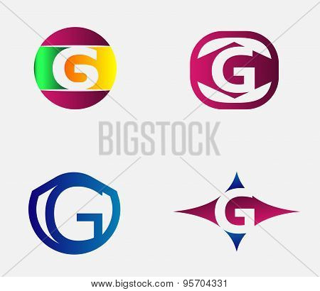 Set of letter G logo icons design template elements. Collection of vector signs