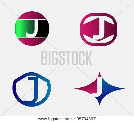 Abstract J round logo design template. Vector creative symbol