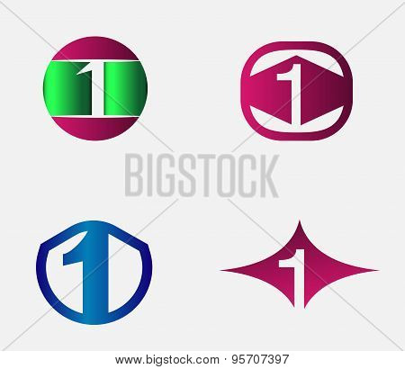 1 alphabet font number abstract, logo, symbol, icon, graphic, vector