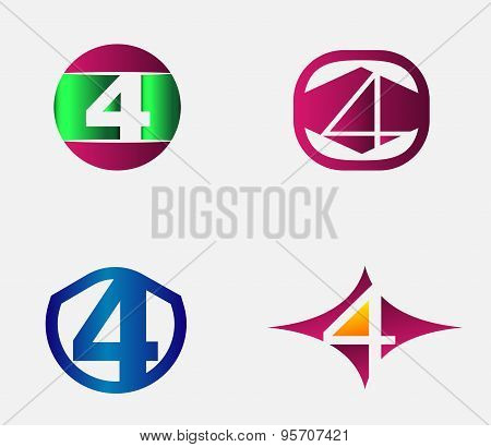 4 alphabet font number abstract, logo, symbol, icon, graphic, vector