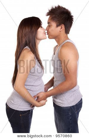 Pregnant About To Kiss